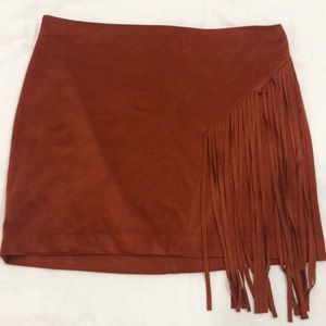 Forever 21 Skirts - Orange Red Suede Fringe Mini Skirt